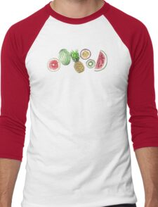Tropical Fruit on a Turquoise Background Men's Baseball ¾ T-Shirt
