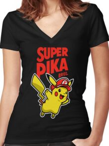 Super Pika Bros. Women's Fitted V-Neck T-Shirt