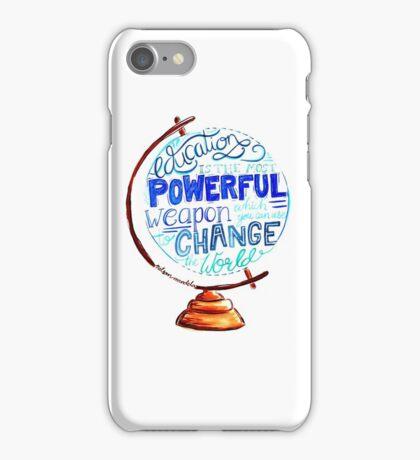 Nelson Mandela - Education Change The World, Typography Vintage Globe Design iPhone Case/Skin