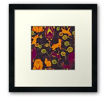 Pattern with cats and yarns Framed Print