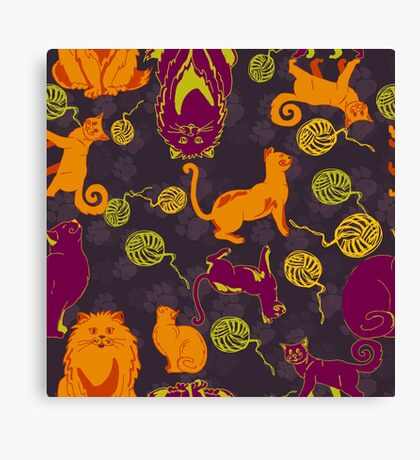 Pattern with cats and yarns Canvas Print