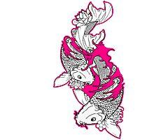 Koi Fish Design in pink Photographic Print