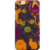 Pattern with cats and yarns iPhone Case/Skin
