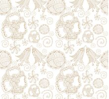 pattern with contour of decorative, elegant, fantastic flowers by lisenok
