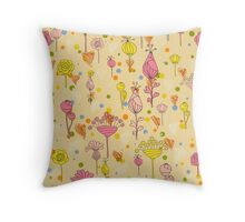 Floral pattern with hearts Throw Pillow