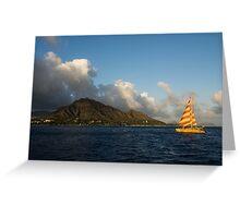 Cheerful Orange Catamaran and Diamond Head, Waikiki, Hawaii Greeting Card