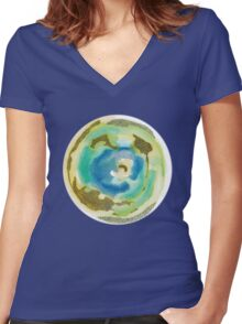 Not Quite Earth Abstract Map Women's Fitted V-Neck T-Shirt