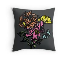 Floral line - dot and pattern Throw Pillow
