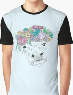 Watercolor Flower Cow Graphic T-Shirt