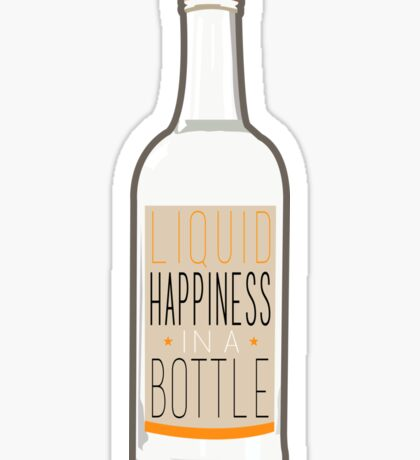 Liquid Happiness in a Bottle Vodka Bottle - Flat Sticker