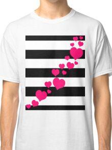 Pink Hearts Black Stripes Classic T-Shirt
