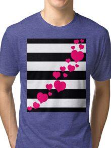 Pink Hearts Black Stripes Tri-blend T-Shirt