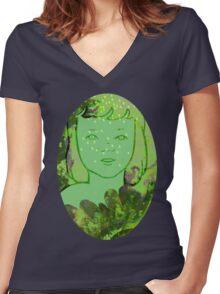 Green Sea Girl Women's Fitted V-Neck T-Shirt