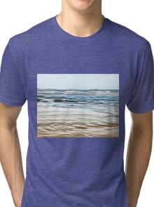 Abstract Waves on the beach in late afternoon Tri-blend T-Shirt