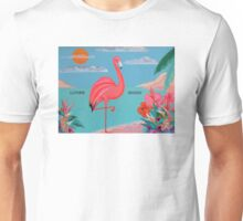 PINK FLAMINGO WITH MESSAGE: Life's Good! Unisex T-Shirt