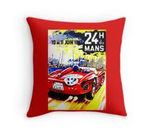 """MANS"" Vintage Grand Prix Auto Race Print Throw Pillow"