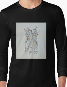Watercolor Paintbrushes in a jar Long Sleeve T-Shirt