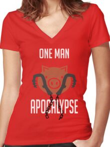 I'm a one man apocalypse Women's Fitted V-Neck T-Shirt
