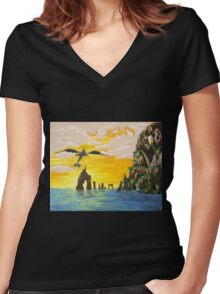 How to train your Dragon Fanart Women's Fitted V-Neck T-Shirt