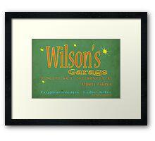 Wilsons Garage Vintage style sign Framed Print