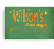 Wilsons Garage Vintage style sign Canvas Print