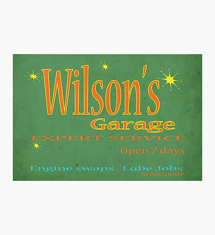Wilsons Garage Vintage style sign Photographic Print