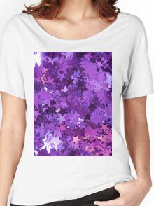 Purple Star Glitter Women's Relaxed Fit T-Shirt