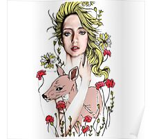 Girl and baby deer Poster