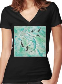 HAMMERHEAD SHARK SPLATTER Women's Fitted V-Neck T-Shirt