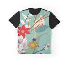 Aqua Red Vintage Floral Pattern Graphic T-Shirt