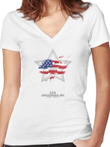Star USA Independence Day 4TH July Women's Fitted V-Neck T-Shirt