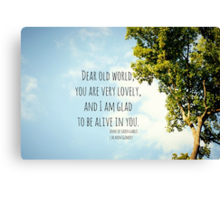 World Lovely Anne Shirley Canvas Print