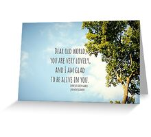 World Lovely Anne Shirley Greeting Card