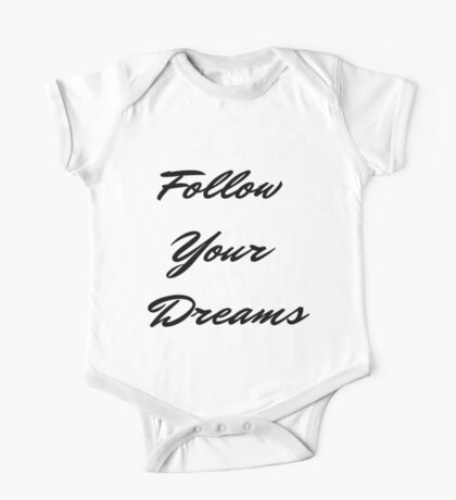 Follow Your Dreams in Black One Piece - Short Sleeve
