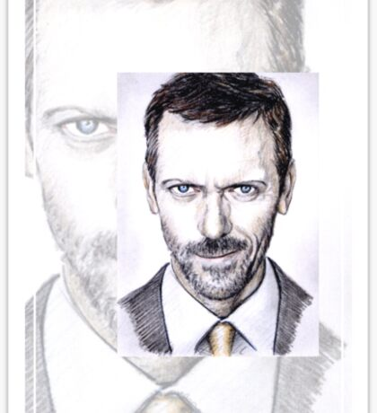 Hugh Laurie mini-portrait Sticker