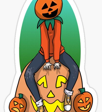 Pumpkin Kid on a Pumpkin Leaf Bag Sticker