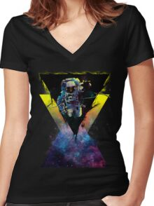 BLACK HOLE TRIANGLE IN SPACE Women's Fitted V-Neck T-Shirt