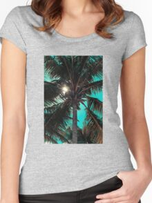 Palm tree with Retro summer filter effect Women's Fitted Scoop T-Shirt