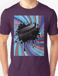 Hockey Puck on Background with Rays 2 Unisex T-Shirt