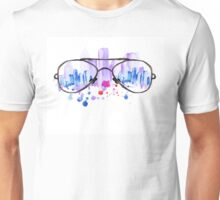 Watercolor vintage glasses New York with drops and splash Unisex T-Shirt