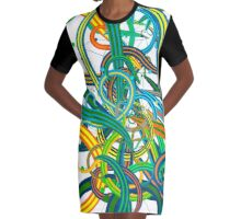 Bipolar Mania Rollercoaster Abstract Graphic T-Shirt Dress