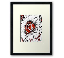Miniature Aussie Tangle 05 in Red White and Black Framed Print