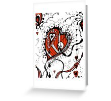 Miniature Aussie Tangle 05 in Red White and Black Greeting Card