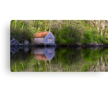 Old Boathouse Reflections Canvas Print