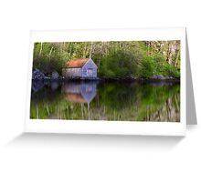 Old Boathouse Reflections Greeting Card