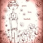 Pale Pink Peace Love and Baseball - Whimsical Folk Art Girl by erica lubee  ~ SkyBlueWithDaisies