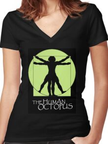 The Human Octopus Women's Fitted V-Neck T-Shirt