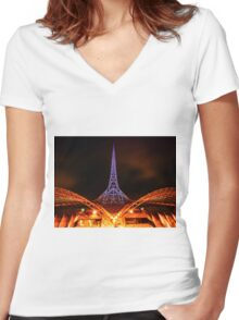Art Center at Night Women's Fitted V-Neck T-Shirt