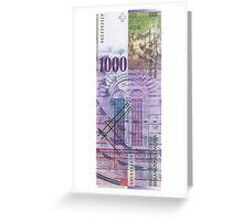 1000 Swiss Franc Bill Greeting Card