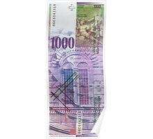 1000 Swiss Franc Bill Poster